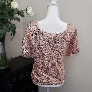 Tops - Vintage Sequin Rose Gold Short Sleeve Lined Top